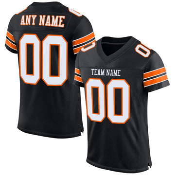 Custom Black White-Orange Mesh Authentic Football Jersey
