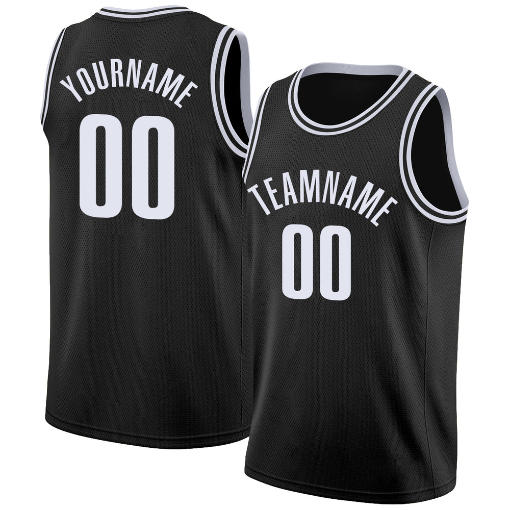 Custom Black White Round Neck Rib-Knit Basketball Jersey