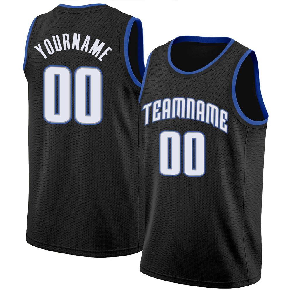 Custom Black White-Blue Round Neck Rib-Knit Basketball Jersey