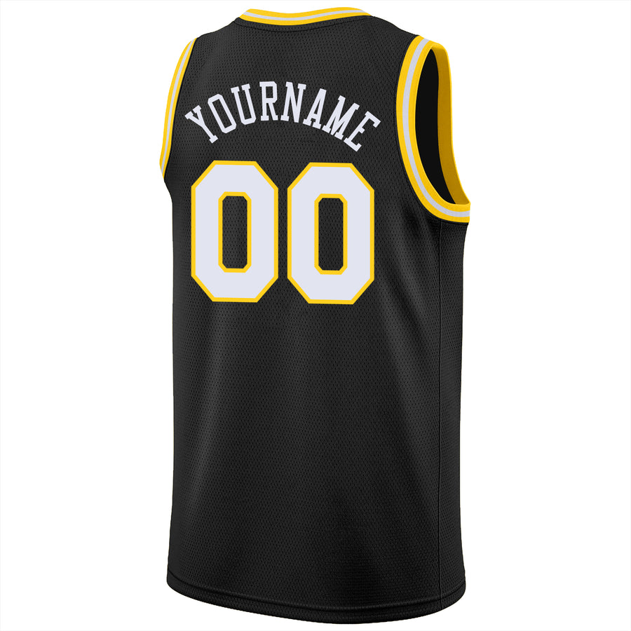 Custom Black White-Gold Round Neck Rib-Knit Basketball Jersey