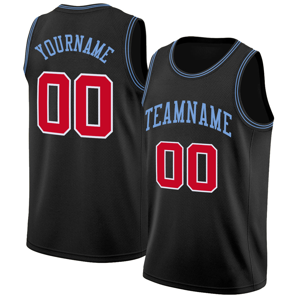 Custom Black Red-Light Blue Round Neck Rib-Knit Basketball Jersey