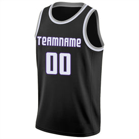 Custom Black White-Purple Round Neck Rib-Knit Basketball Jersey