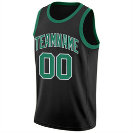 Custom Black Kelly Green-White Round Neck Rib-Knit Basketball Jersey