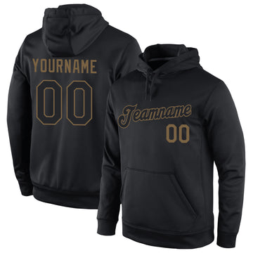 Custom Stitched Black Black-Old Gold Sports Pullover Sweatshirt Hoodie