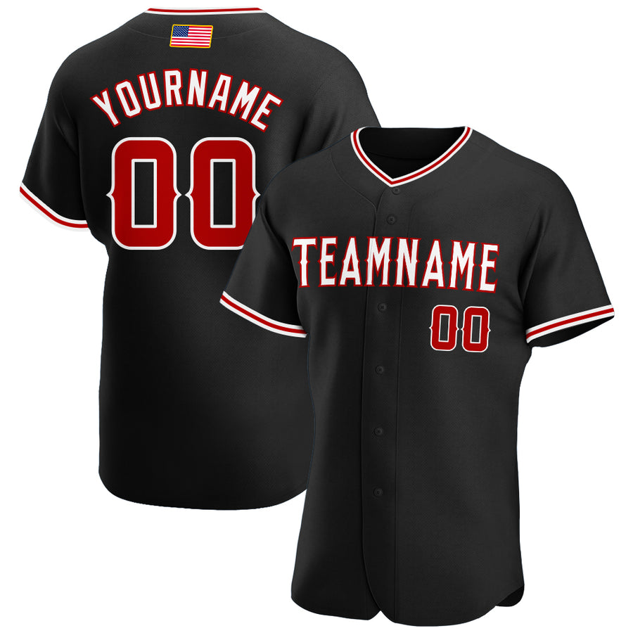 Custom Black Red-White Authentic American Flag Fashion Baseball Jersey