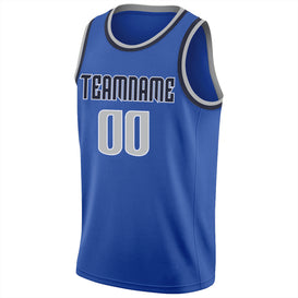 Custom Blue Silver Gray-Navy Round Neck Rib-Knit Basketball Jersey