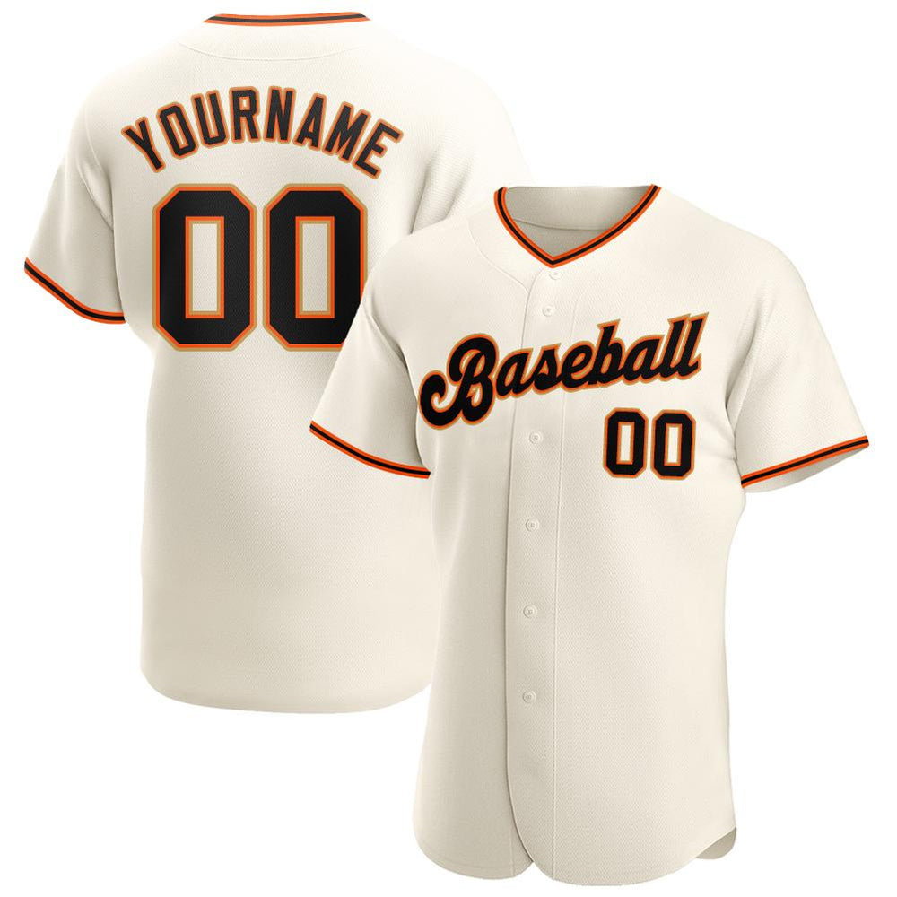 Custom Cream Black-Orange Authentic Baseball Jersey