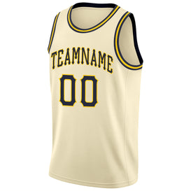 Custom Cream Navy-Gold Round Neck Rib-Knit Basketball Jersey