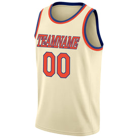 Custom Cream Orange-Royal Round Neck Rib-Knit Basketball Jersey