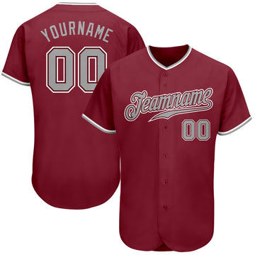 Custom Crimson Gray-White Authentic Baseball Jersey