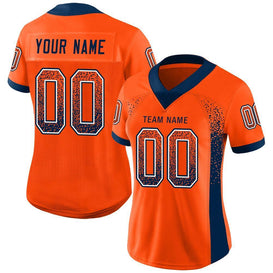 Custom Orange Navy-White Mesh Drift Fashion Football Jersey