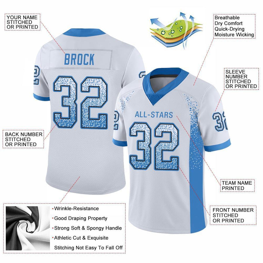 Custom White Powder Blue-Black Mesh Drift Fashion Football Jersey