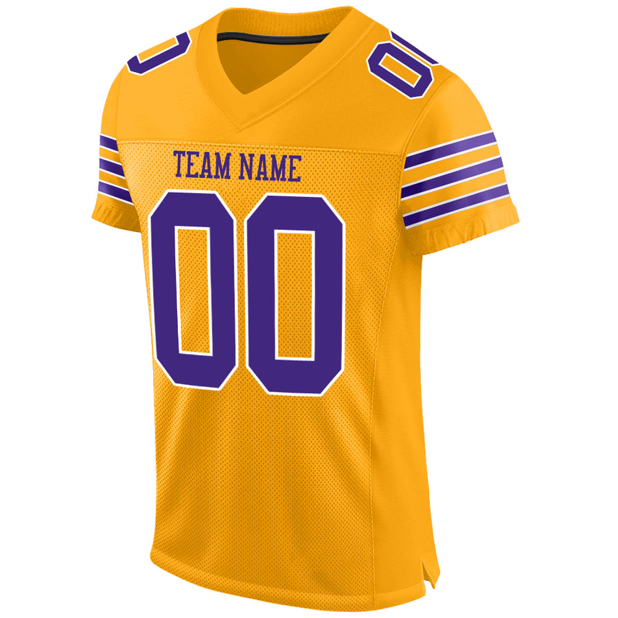 Custom Gold Purple-White Mesh Authentic Football Jersey