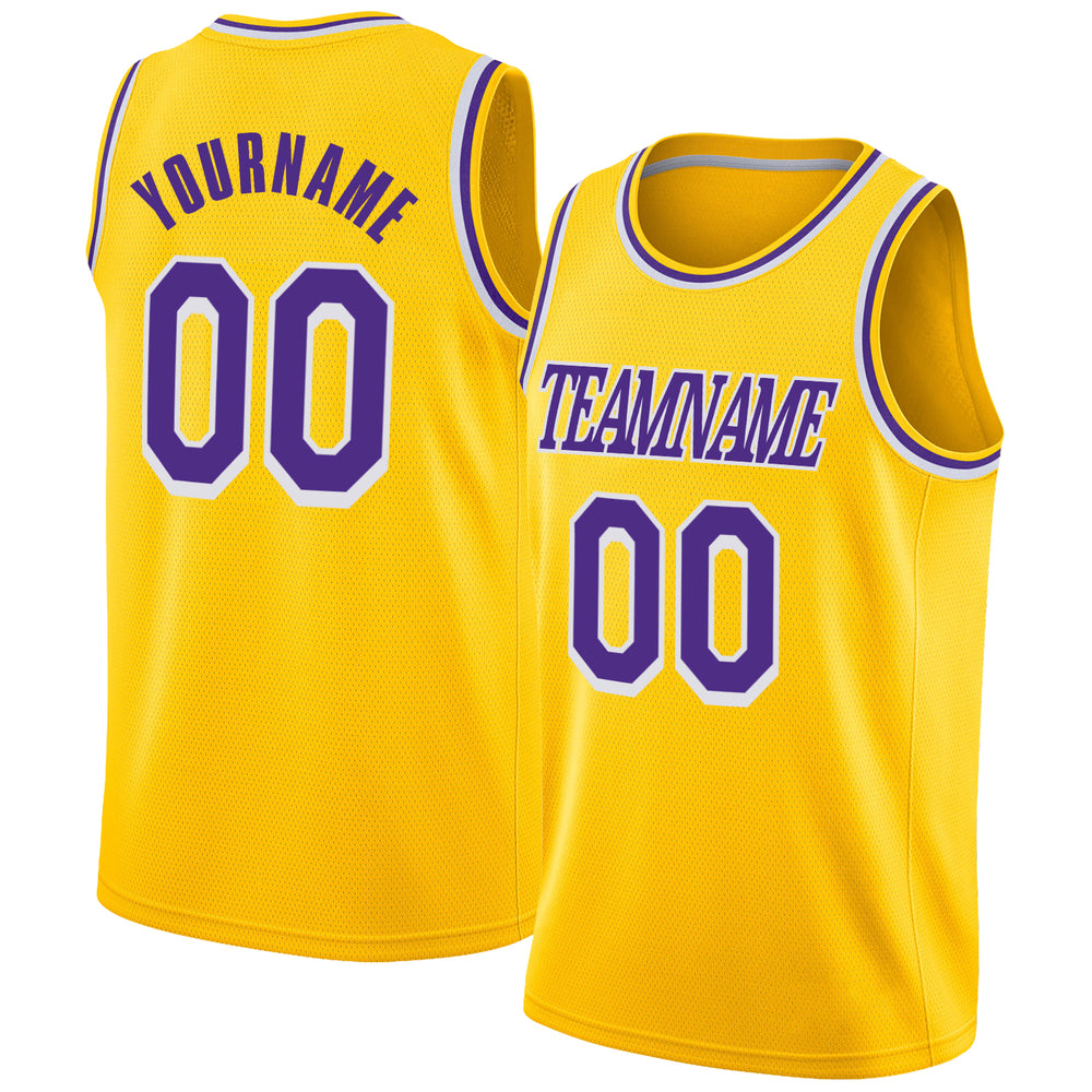 Custom Gold Purple-White Round Neck Rib-Knit Basketball Jersey