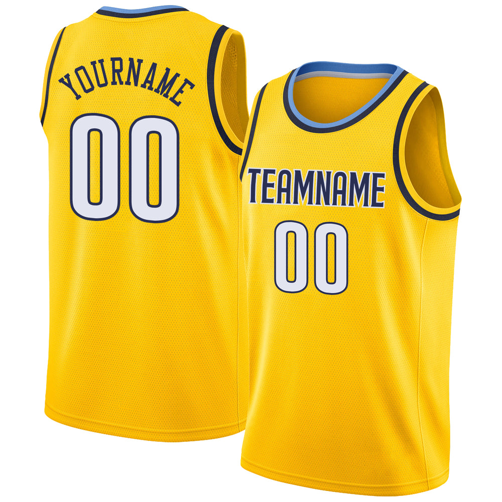 Custom Gold White-Navy Round Neck Rib-Knit Basketball Jersey