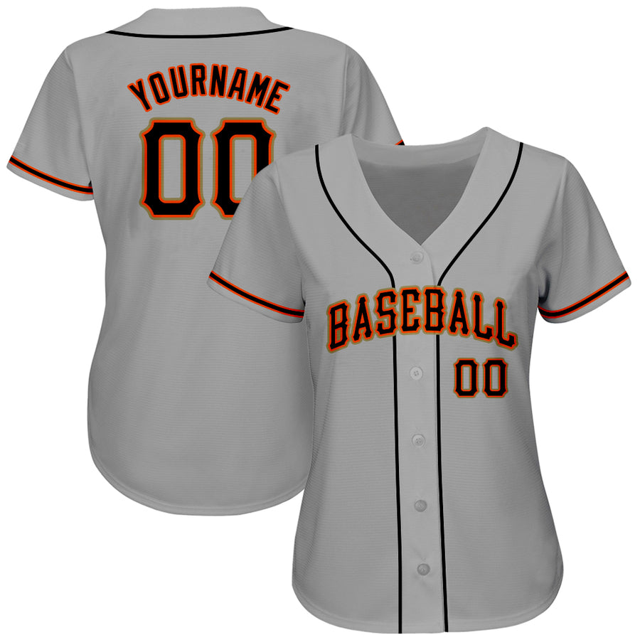 Custom Gray Black-Orange Authentic Baseball Jersey