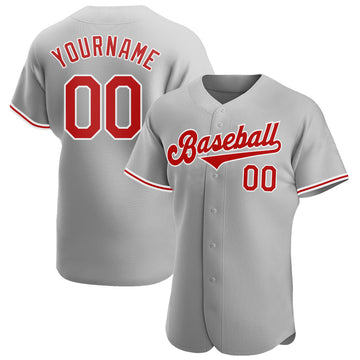 Custom Gray Red-White Authentic Baseball Jersey