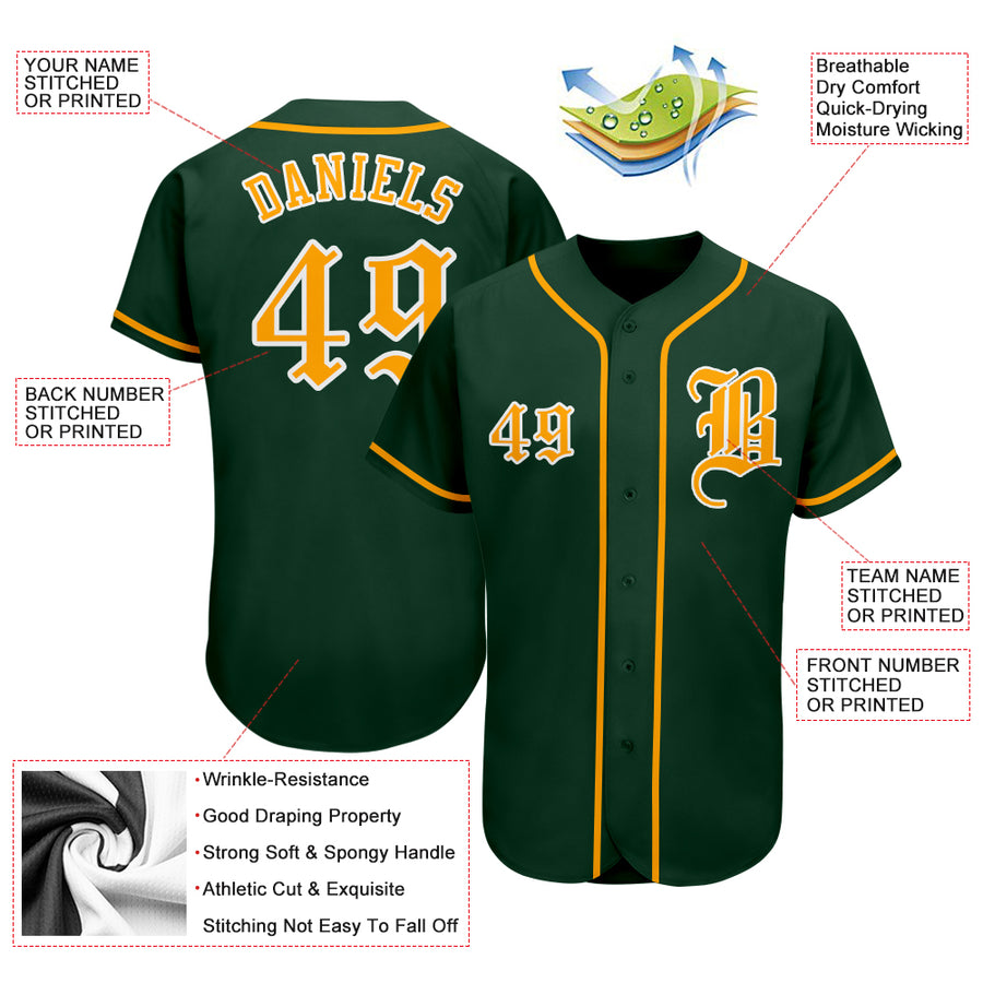 Custom Green Gold-White Authentic Baseball Jersey