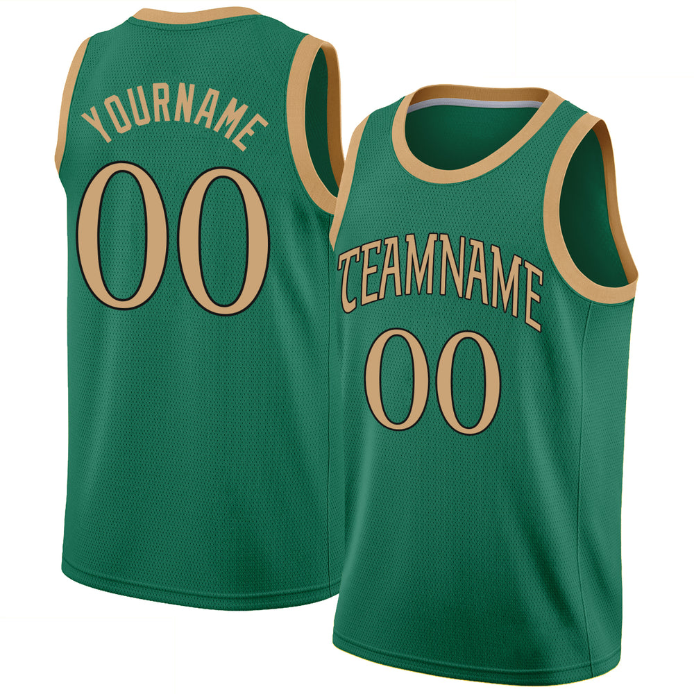 Custom Kelly Green Old Gold-Black Round Neck Rib-Knit Basketball Jersey