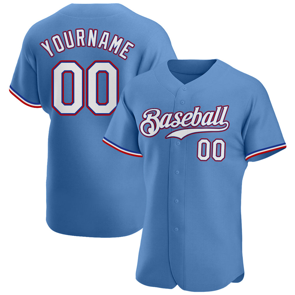 Custom Light Blue White-Red Authentic Baseball Jersey