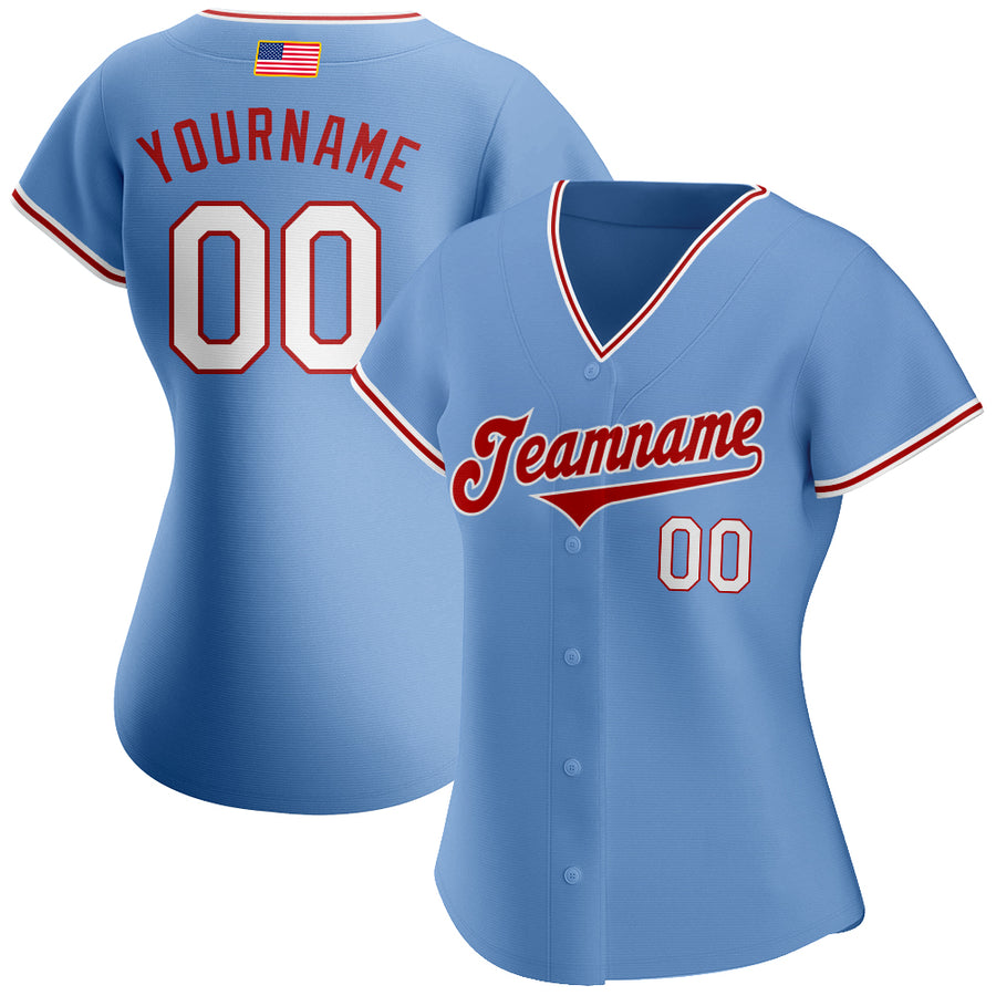 Custom Light Blue White-Red Authentic American Flag Fashion Baseball Jersey