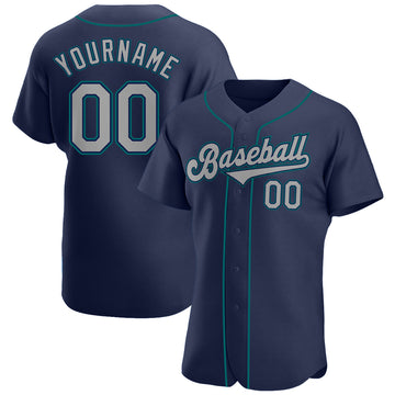 Custom Navy Gray-Aqua Authentic Baseball Jersey