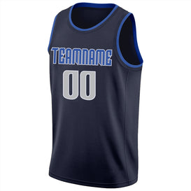 Custom Navy Silver Gray-Blue Round Neck Rib-Knit Basketball Jersey