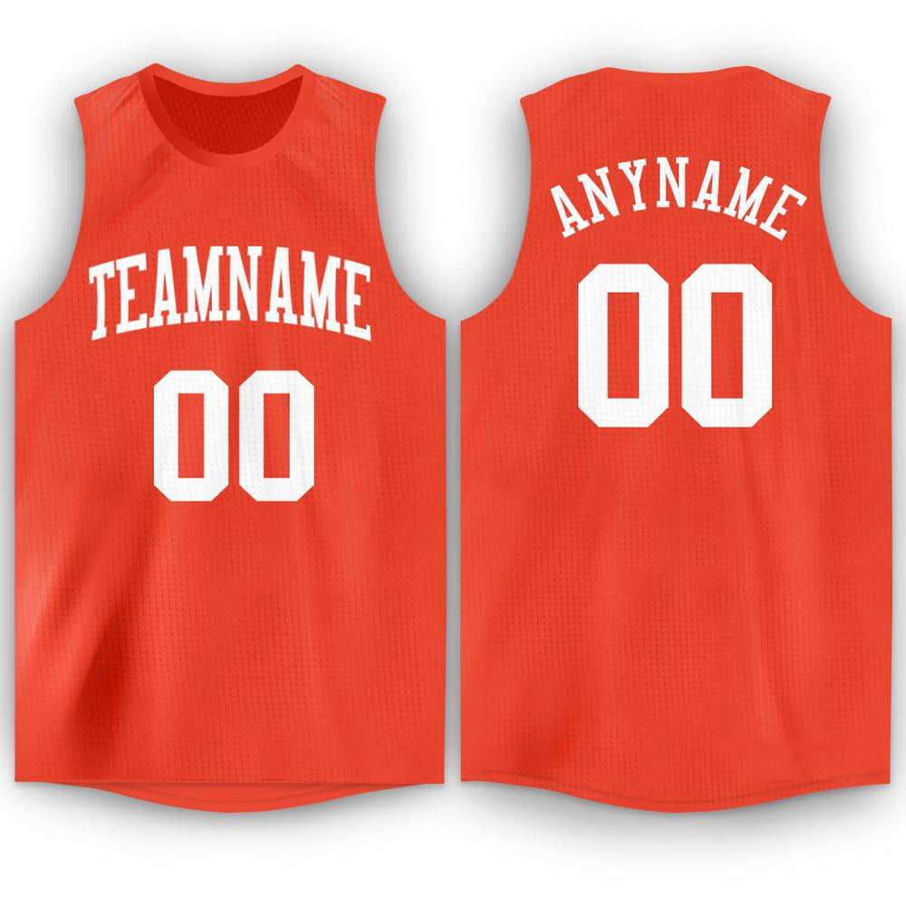 Custom Orange White Round Neck Basketball Jersey