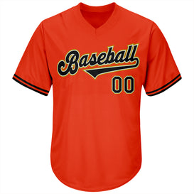 Custom Orange Black-Old Gold Authentic Throwback Rib-Knit Baseball Jersey Shirt