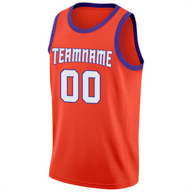 Custom Orange White-Purple Round Neck Rib-Knit Basketball Jersey