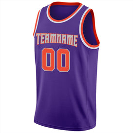 Custom Purple Orange-Silver Gray Round Neck Rib-Knit Basketball Jersey