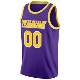 Custom Purple Gold-White Round Neck Rib-Knit Basketball Jersey