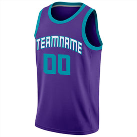Custom Purple Teal-White Round Neck Rib-Knit Basketball Jersey