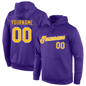 Custom Stitched Purple Gold-White Sports Pullover Sweatshirt Hoodie