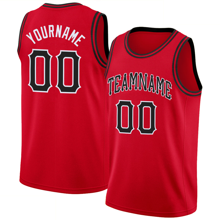 Custom Red Black-White Round Neck Rib-Knit Basketball Jersey