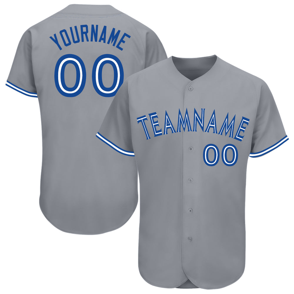 Custom Gray Royal-White Baseball Jersey