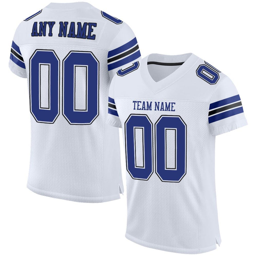 Custom White Royal-Black Mesh Authentic Football Jersey