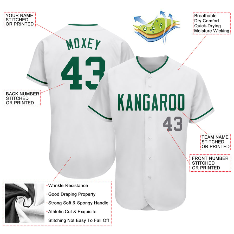 Custom White Kelly Green-Gray Authentic Baseball Jersey