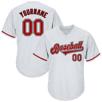 Custom White Red-Black Authentic Throwback Rib-Knit Baseball Jersey Shirt