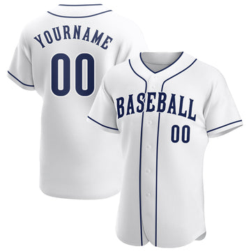 Custom White Navy-White Authentic Baseball Jersey