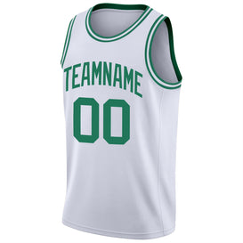 Custom White Kelly Green Round Neck Rib-Knit Basketball Jersey