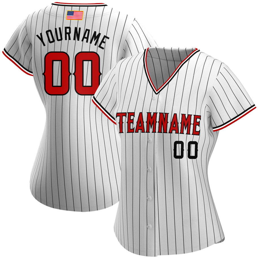 Custom White Black Strip Red-Black Authentic American Flag Fashion Baseball Jersey