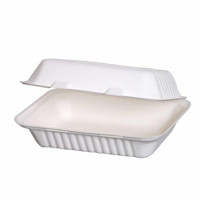 "Clamshell bagasse box 9""x6"""