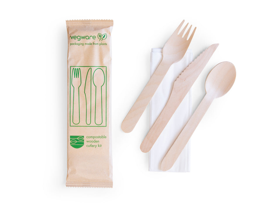 Compostable wooden cutlery kit