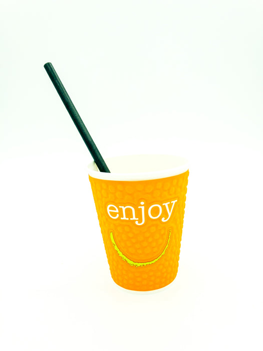 Paper smoothie straw black 200x8mm