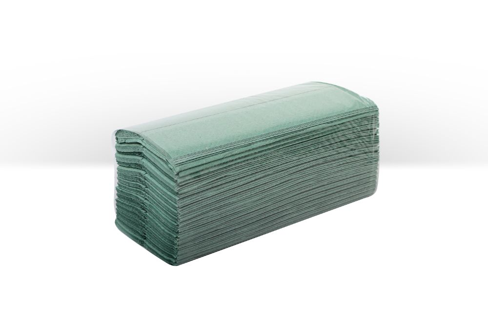 C-fold paper handtowels green 1ply 250x227mm