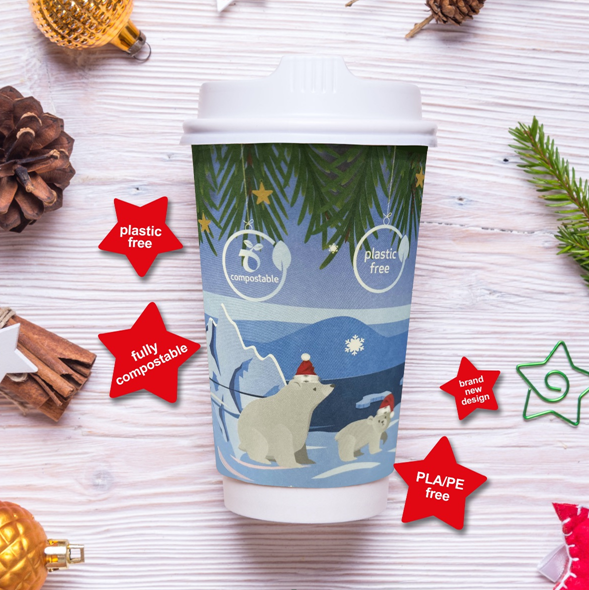 Festive 'Polar Bear' double wall hot cup 12oz