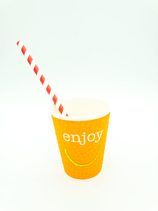Paper straws red stripe 200x6mm