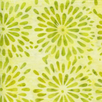 Round Petal Floral in Lemon Lime - Batiks by Island Batik