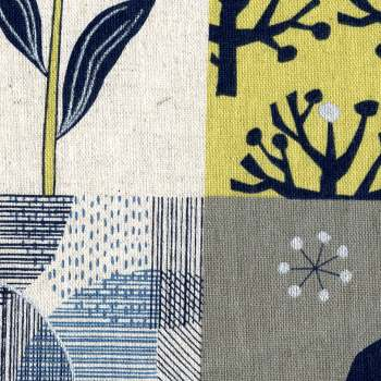 Nature and Geometrical in Yellow - Japanese Linen and Cotton Prints